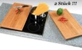 2 Stück Schneide- und Abdeckplatte Ceranfeldabdeckung Bambus Holz je 50×28 cm Kesper # 54591 - 1