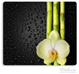 Herdabdeckplatte aus Glas, 1-teilig, 60x52cm, für Ceran- und Induktionsherde, Grüne Orchidee mit Bambus auf schwarz - Regentropfen -