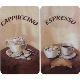 WENKO 2521280100 Herdabdeckplatte Universal Kaffee - 2er Set, für alle Herdarten, Gehärtetes Glas, Mehrfarbig -