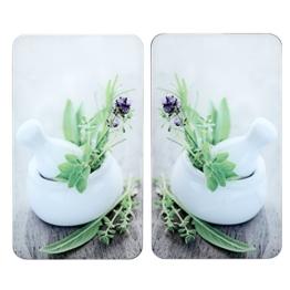 WENKO 2521399100 XL-Herdabdeckplatte Universal Kräutergarten - 2er Set, extra groß, für alle Herdarten, Gehärtetes Glas, 40 x 1.8-4.5 x 52 cm je Platte, Mehrfarbig -