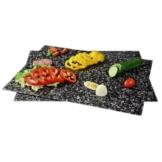 Xavax Zwei Multifunktionale Glasschneideplatten zum Schneiden, Anrichten und Servieren, Auch geeignet als Kochplattenabdeckung, 52 x 40 cm, Sicherheitsglas, Granit -