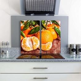 Gsmarkt | Herdabdeckplatte Schneidebrett Spritzschutz Set 2x30x52 | Bild auf Glas | Sicherheitsglas Gehärtetes Glas Bild | Motiv Orange -
