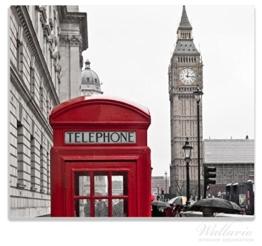 Herdabdeckplatte / Spitzschutz aus Glas, 1-teilig, 60x52cm, für Ceran- und Induktionsherde, Rote Telefonzelle in London, England, mit Big Ben -