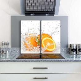 Orange 2 Set Glas Abdeckplatte 2x30x52 Schneidebrett Herdabdeckplatte -