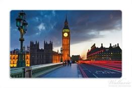 Stilvolles Frühstücksbrettchen / Schneidebrett aus Glas, London- Big Ben bei Nacht, Größe 14 x 23 cm, kratzfest, aus Sicherheitsglas -