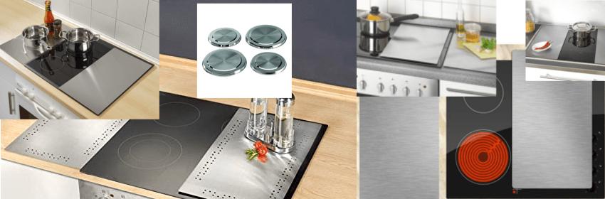 Verschiedene Produktbilder von Herdabdeckungen und Ceranfeldabdeckungen aus Edelstahl