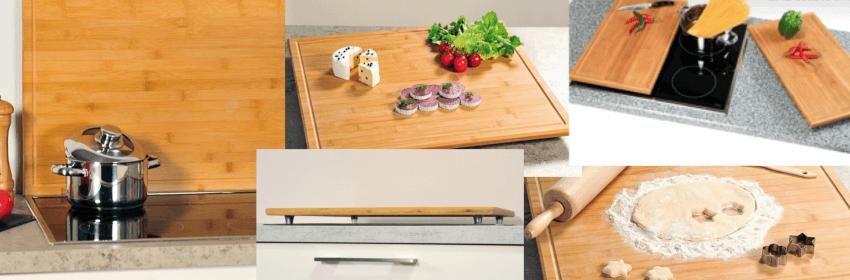 Verschiedene Produktbilder von Ceranfeldabdeckungen und Herdabdeckplatten aus Holz