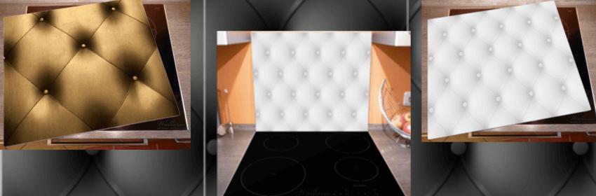 Verschiedene Produktbilder von Herdabdeckplatten / Ceranabdeckplatten in Leder Optik