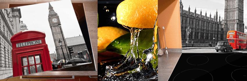 3 verschiedene Produktbilder von Herdabdeckungen / Ceranfeldabdeckungen aus Glas