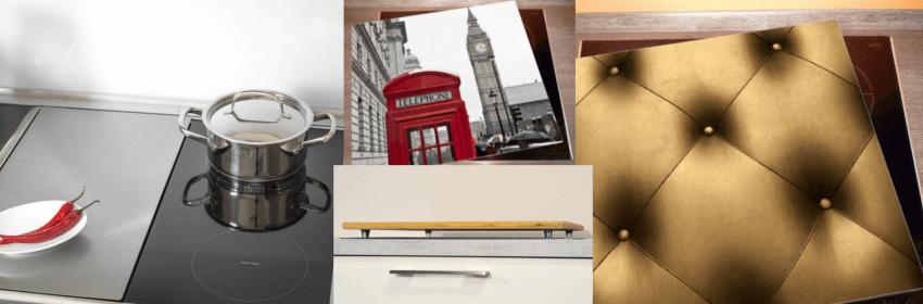Verschiedene Produktbilder von Herdabdeckplatten und Ceranfeldabdeckplatten die es zu kaufen gibt